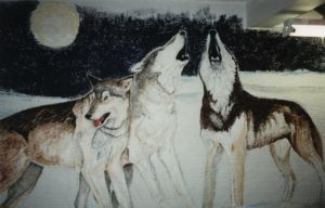Wall painting: Wolves by mooni