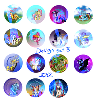 2012 button selection set 3 PONIES and TTGL by HeroAiyami