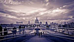 St. Paul's + Millenium Bridge by crystallam