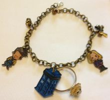 OOAK 10th Doctor Rose and TARDIS charm bracelet by Lovelyruthie
