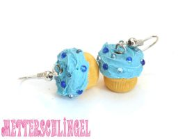 Blue Cupcake Earrings by Metterschlingel