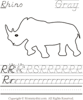 Mommysbiz | R-Rhino-Gray Preschool Worksheet by DanaHaynes
