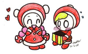 X-Mas Toadette and Prince Mush by Chaotic-Kyubi