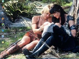 Xena and Gabrielle Desktop by hazeleyedboy