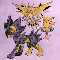 Shiny Luxray, Zapdos, Pikachu by Dragonography