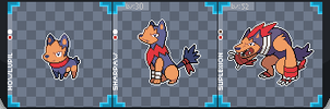 Fighting Wolves Pokemon Sprites! by Papertobi