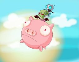 Zim and Gir ride the pig by moray-eel