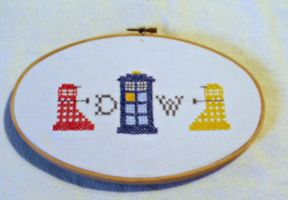 Doctor Who Cross Stitch Hoop Art by agorby00