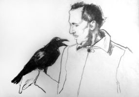 Portrait of Vincent Price (and a raven) by filmshirley