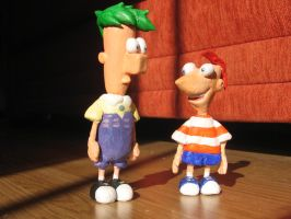 Phineas and Ferb Clay Statues by katiediazz