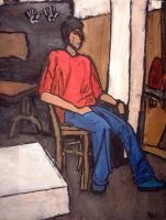 Oil Paint and Charcoal Figure by MontyP