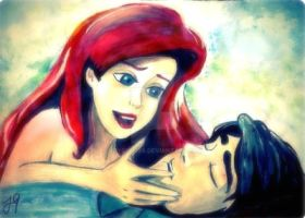 Ariel and Eric Acrylic. by JoyGirl798