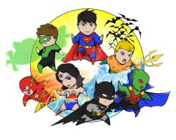 Chibi Justice League by Creeeeeees