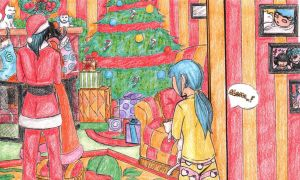 Mommy Kissing Santa under the Mistletoe by Ankoku-Sensei