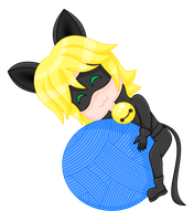 Chat Noir ball of yarn transparent by MikariStar