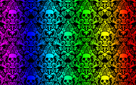 Rainbow Skull Damask by spiderkid321
