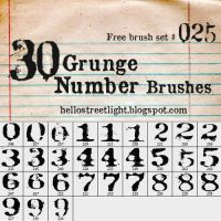 Free Brush Set 25: Grunge Numbers by tau-kast