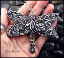 Secrets in the Garden - Clay and Gemstone Pendant by andromeda