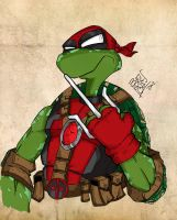 What if the fifth turtle was Deadpool ?? by LloydBridgemanInk
