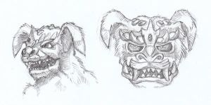 King Caesar head sketches by tekuatl