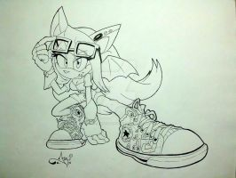 [A.T.] Riley the Bat (Lineart) by AriLorenHedgehog