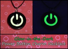 Glowing Power Button Necklace by YellerCrakka