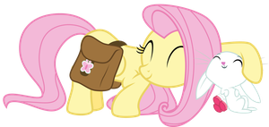 Fluttershy and Angel snuggle by thatguy1945