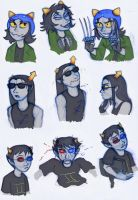 Homestuck Characters: Nepeta, Equius, Sollux by Expression