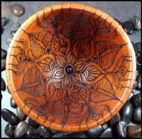 Offering Bowl - Wood burned Lotus - Nirvani by andromeda