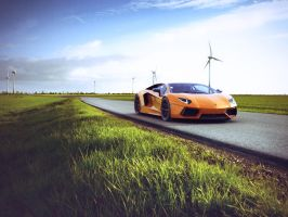 Aventador on road by Teddyboer
