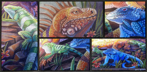Endangered Iguanas Chalk Art 3 by charfade