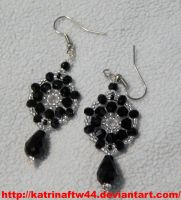 Black and Silver woven earrings by KatrinaFTW44