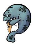Illustration Reward: Manatee Knitting by TommyOliverDraws