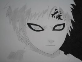 Me drawing Gaara,black and white by ModelingElf
