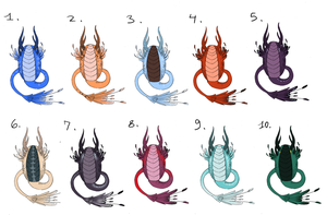 [[CLOSED AUCTION]] Pinna Dragon eggs by LauraRamirezAdopts