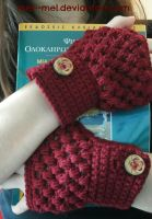 fluffy rose red gloves by mel--mel