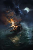 ship on fire by mattdonnici
