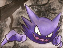 Haunter pokemon watercolor canvas painting by LightningChaser