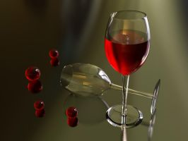 3D Wine glass +RED+ by jevi-infinity