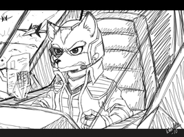 Fox in arwing sketch by icha-icha