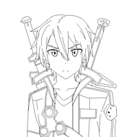 Sword Art Online Kirito Line Art by SonBui