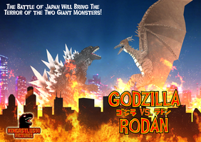 Godzilla vs Rodan Poster by KingAsylus91