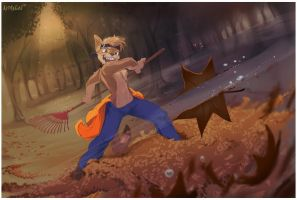 Coyote vs Leaf by Noben