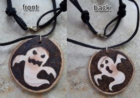 Pyrography ghost necklace by CiceroVanStain