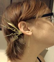Deluxe Filigree Steam Fae Wings Over the Ear Cuffs by pervyyaoifancier