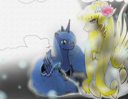 I'm so happy your here,Princess Serenity and Luna by Ashandi