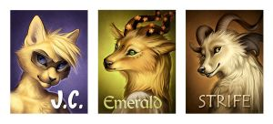 Badges - J.C., Emerald, Strife by Nimrais