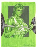 She-Hulk Weight Lifting by daikkenaurora