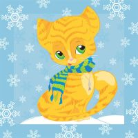 Cat with scarf _vector by jkBunny