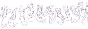 PKMN: Mew sketches by Zilleniose